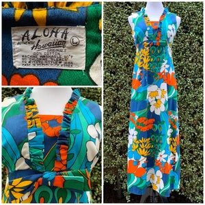 """Aloha Hawaii"" Vintage Barkcloth Maxi-Dress Small"